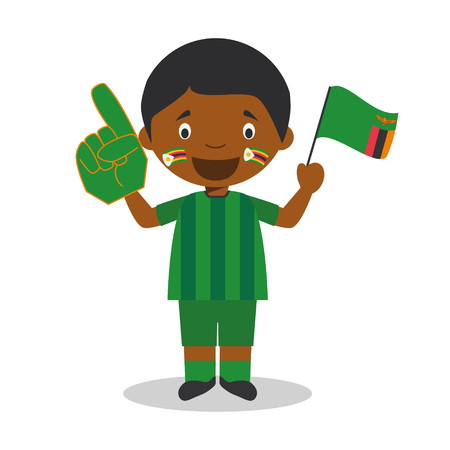 National sport team fan from Zambia with flag and glove Vector Illustration