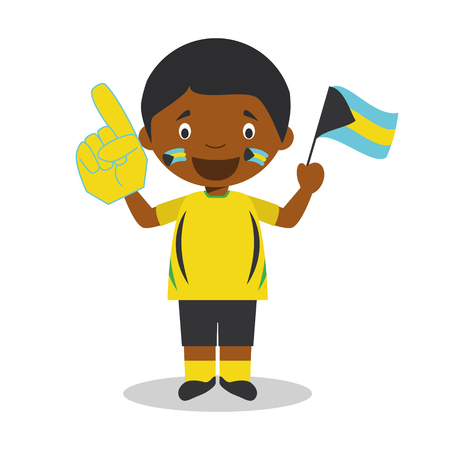National sport team fan from Bahamas with flag and glove Vector Illustration