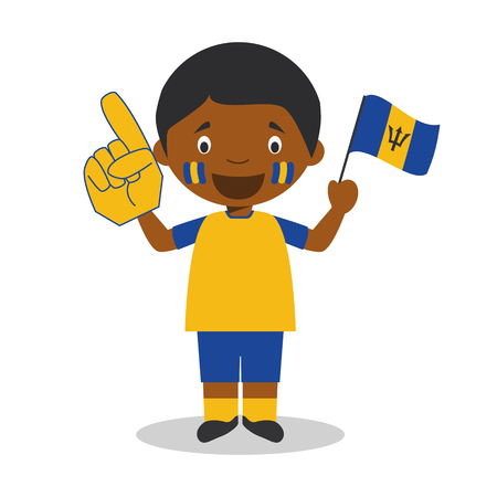 National sport team fan from Barbados with flag and glove Vector Illustration