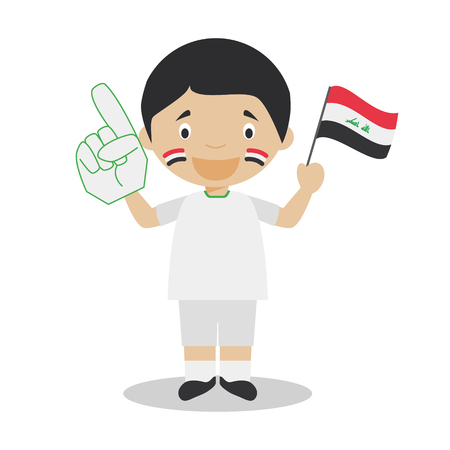 National sport team fan from Iraq with flag and glove Vector Illustration