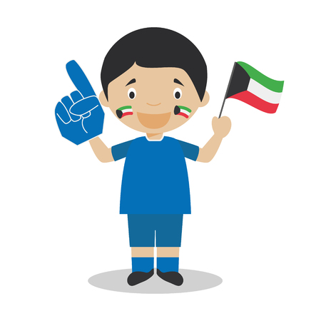 National sport team fan from Kuwait with flag and glove Vector Illustration