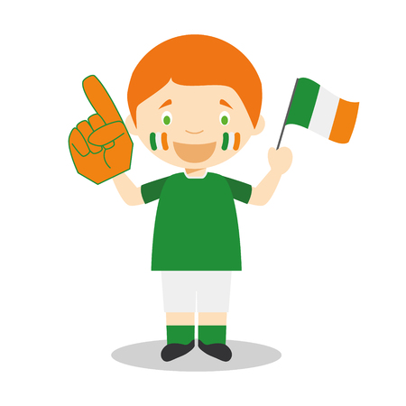 National sport team fan from Ireland with flag and glove Vector Illustration