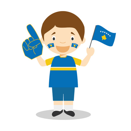National sport team fan from Kosovo with flag and glove Vector Illustration