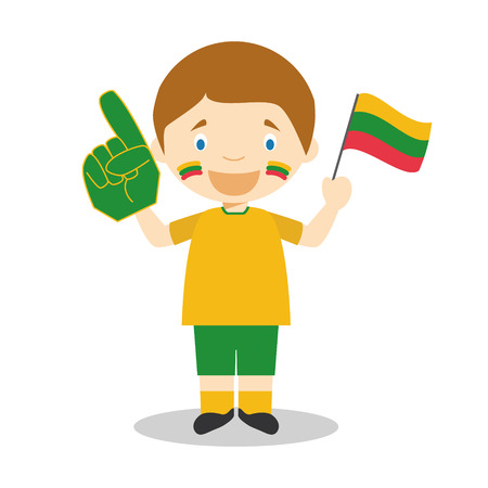 National sport team fan from Lithuania with flag and glove Vector Illustration