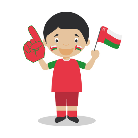 National sport team fan from Oman with flag and glove Vector Illustration