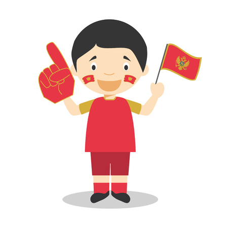 National sport team fan from Montenegro with flag and glove Vector Illustration