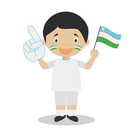 National sport team fan from Uzbekistan with flag and glove Vector Illustration
