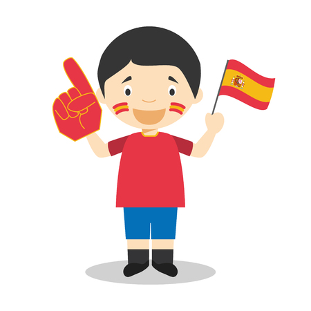 National sport team fan from Spain with flag and glove Vector Illustration