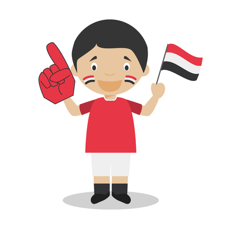 National sport team fan from Yemen with flag and glove Vector Illustration