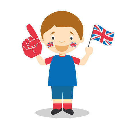 National sport team fan from United Kingdom with flag and glove Vector Illustration