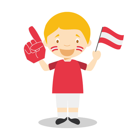 National sport team fan from Austria with flag and glove Vector Illustration