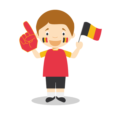 National sport team fan from Belgium with flag and glove Vector Illustration Vektorgrafik