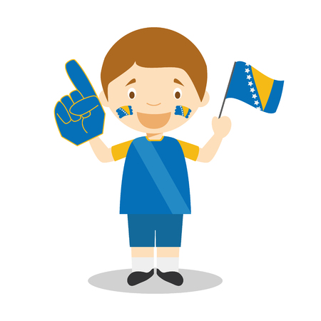 National sport team fan from Bosnia and Herzegovina with flag and glove Vector Illustration
