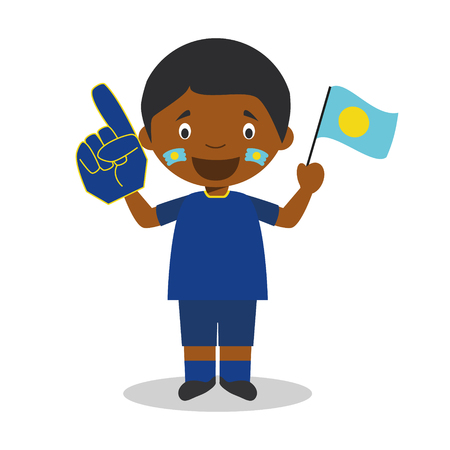 National sport team fan from Palau with flag and glove Vector Illustration