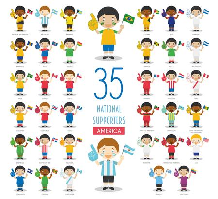 Set di 35 tifosi della squadra sportiva nazionale dei paesi americani Vector Illustration Vettoriali