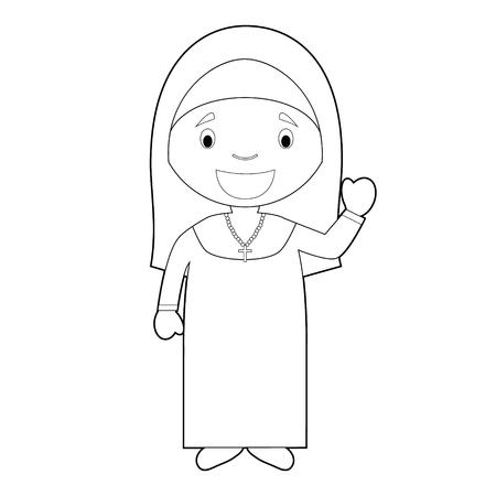 Illustration vectorielle de dessin animé facile à colorier d'une nonne.