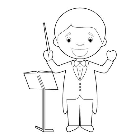 Illustration vectorielle de dessin animé facile à colorier d'un directeur d'orchestre. Vecteurs
