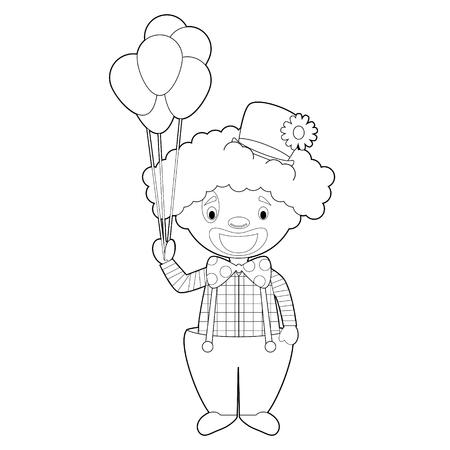 Easy coloring cartoon vector illustration of a clown.