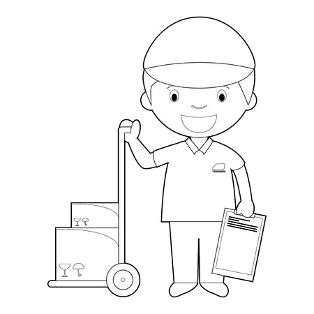 Easy coloring cartoon vector illustration of a courier.