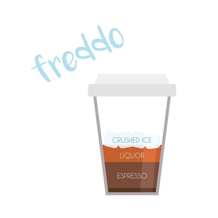 Vector illustration of a Freddo coffee cup icon with its preparation and proportions.