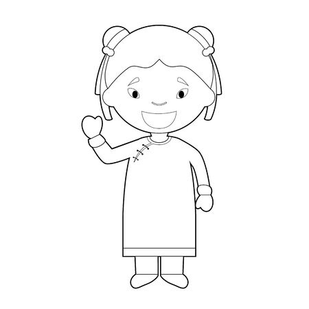 Easy coloring cartoon character from China dressed in the traditional way Vector Illustration. Çizim
