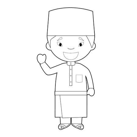 Personnage de dessin animé facile à colorier de Malaisie habillé de manière traditionnelle Illustration vectorielle.