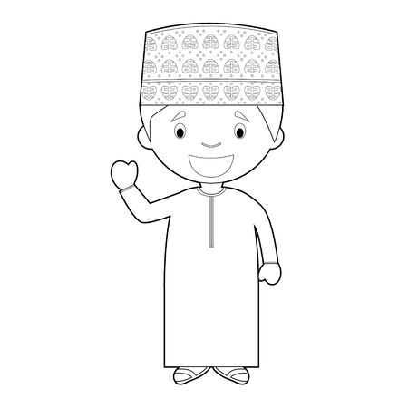 Easy coloring cartoon character from Oman dressed in the traditional way Vector Illustration.