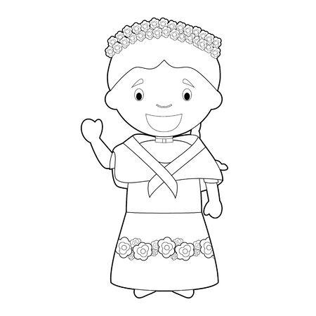 Personaje de dibujos animados para colorear fácil de Filipinas vestido a la manera tradicional de ilustración vectorial. Ilustración de vector