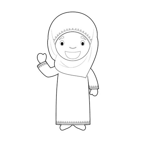 Easy coloring cartoon character from Qatar dressed in the traditional way Vector Illustration.