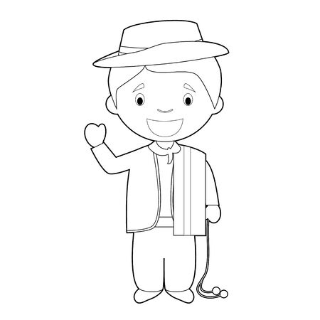 Easy coloring cartoon character from Uruguay dressed in the traditional way as a gaucho. Vector Illustration.