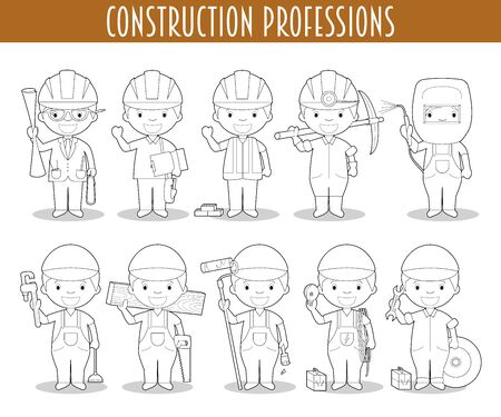 Vector Set of Construction Professions for coloring in cartoon style.