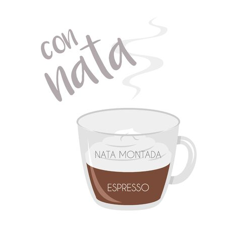 Vector illustration of an Espresso with Whipped Cream coffee cup icon with its preparation and proportions and names in spanish.
