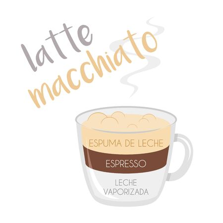 Vector illustration of a Latte Macchiato coffee cup icon with its preparation and proportions and names in spanish. Иллюстрация