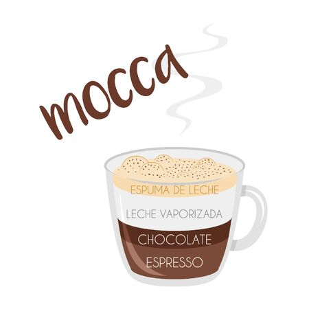 Vector illustration of a Mocha coffee cup icon with its preparation and proportions and names in spanish.