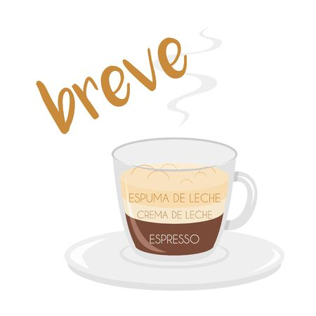 Vector illustration of a Breve coffee cup icon with its preparation and proportions and names in spanish. Иллюстрация