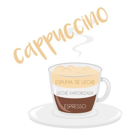 Vector illustration of a Cappuccino coffee cup icon with its preparation and proportions and names in spanish.