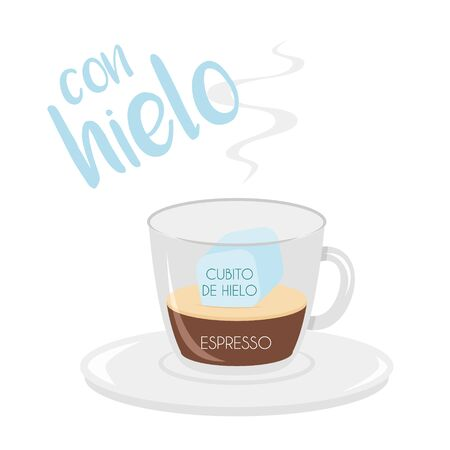 Vector illustration of an Espresso with ice coffee cup icon with its preparation and proportions and names in spanish. Иллюстрация