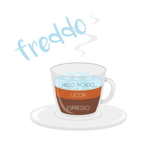 Vector illustration of a Freddo coffee cup icon with its preparation and proportions and names in spanish.