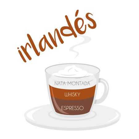 Vector illustration of an Irish coffee cup icon with its preparation and proportions and names in spanish.