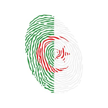 Fingerprint vector colored with the national flag of Algeria