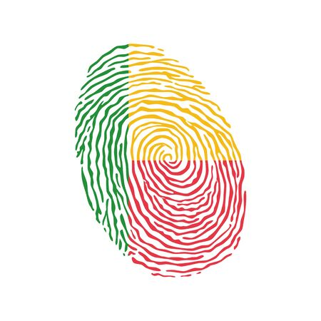 Fingerprint vector colored with the national flag of Benin
