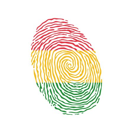 Fingerprint vector colored with the national flag of Bolivia