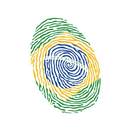 Fingerprint vector colored with the national flag of Brazil