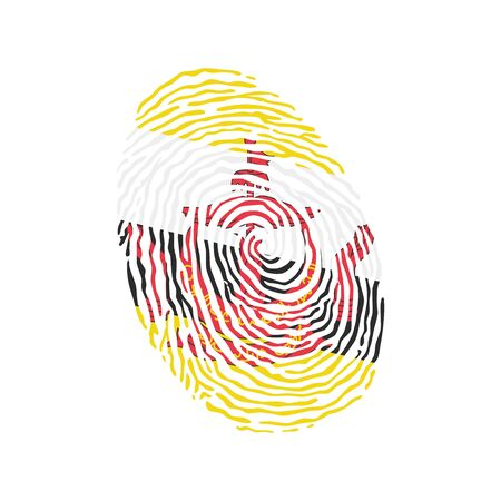 Fingerprint vector colored with the national flag of Brunei