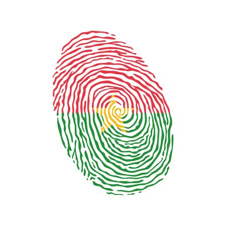 Fingerprint vector colored with the national flag of Burkina Faso