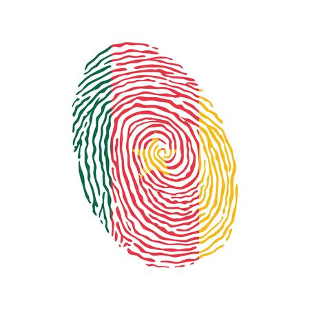 Fingerprint vector colored with the national flag of Cameroon