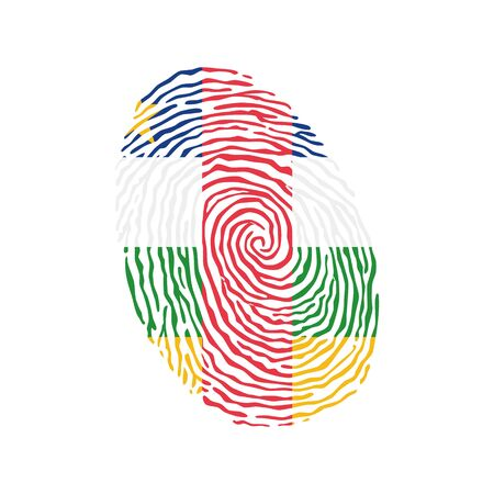 Fingerprint vector colored with the national flag of Central African Republic