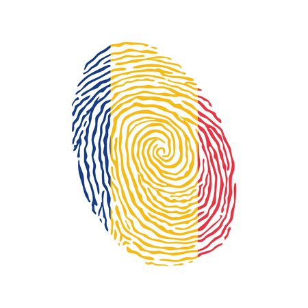 Fingerprint vector colored with the national flag of Chad