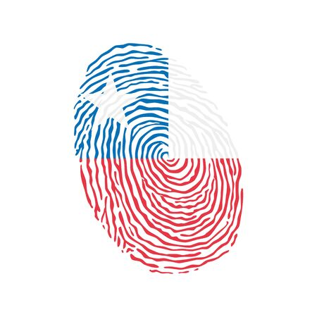 Fingerprint vector colored with the national flag of Chile