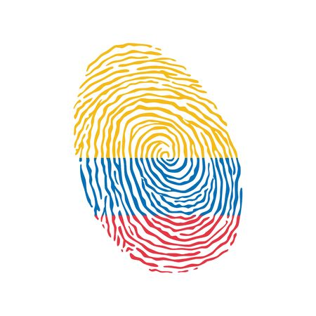 Fingerprint vector colored with the national flag of Colombia